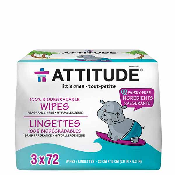 Attitude 100% Compostable Baby Wipes Multipack 216 piece