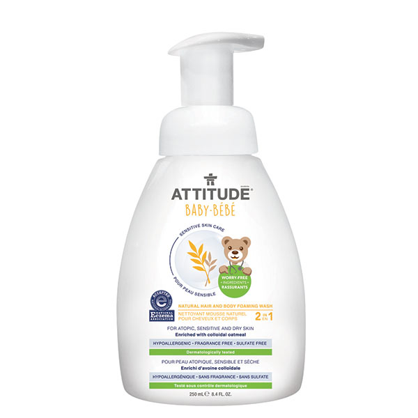 Attitude Sensitive Baby Foaming hair and body wash Fragrance Free 250 ml